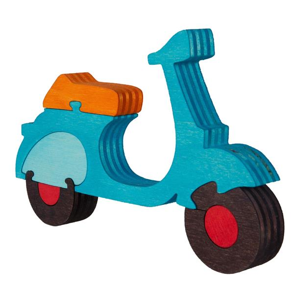 Holzpuzzle mit Motiv Vespa Motorroller  -