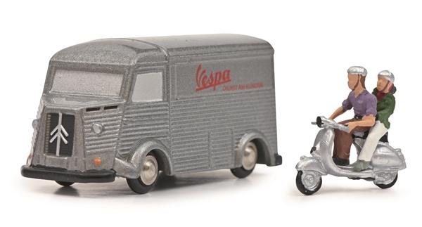 Modell SCHUCO Citroen HY VESPA mit Vespa und Fahrer mit Sozia Limited Edition  -