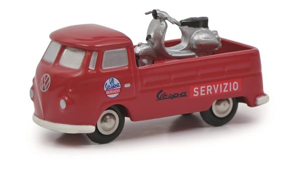 Modell SCHUCO VW T1b Pritschenwagen Vespa Service mit Vespa Limited Edition  -