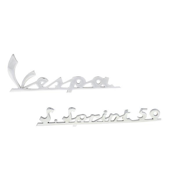 Schriftzug -Vespa- + -S-Sprint 50- Beinschild-Heck vorne und hinten für Vespa 50 SS für Vespa 50 SS-