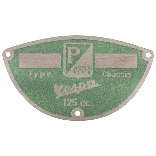 Typenschild -PIAGGIO ACMA Paris- für Vespa ACMA 125 -50-53 für Vespa ACMA 125 -50-53-