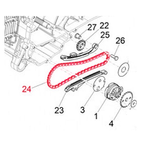 Ventilsteuerkette PIAGGIO für Vespa ET4-LX-S-Primavera-Sprint 50ccm 4T für Vespa ET4-LX-S-Primavera-Sprint 50ccm 4T-